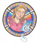 Genesis and her Poliwag on a stained glass-inspired background. Genesis is wearing an X shaped necklace.
